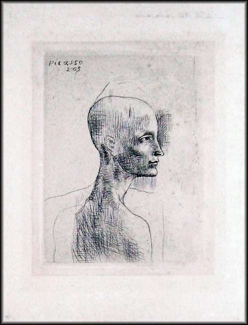 """""""Buste d'homme""""  Drypoint etching, plate signed"""