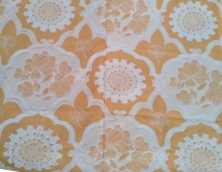 Vintage tenda per bagno / Tenda per bagno floreale / Tenda per bagno marrone chiaro e bianco / Tenda bagno FPL Ponchiardi di VintaFai su Etsy