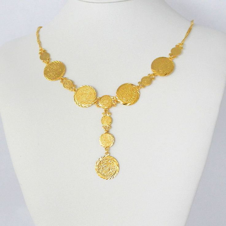 Ancient Persian Coin Babylonian Necklace Pendant 24K Yellow Gold Plated 17 - 22 #GoldCoinJewelry #Pendant