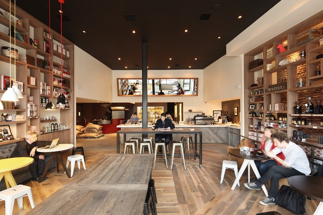 Toby's estate coffee in Brooklyn. Love the display walls and the mix of rustic and clean/modern.