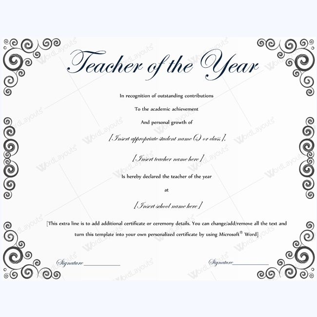 Teacher Of The Year Certificate Sample #certificate - building completion certificate sample