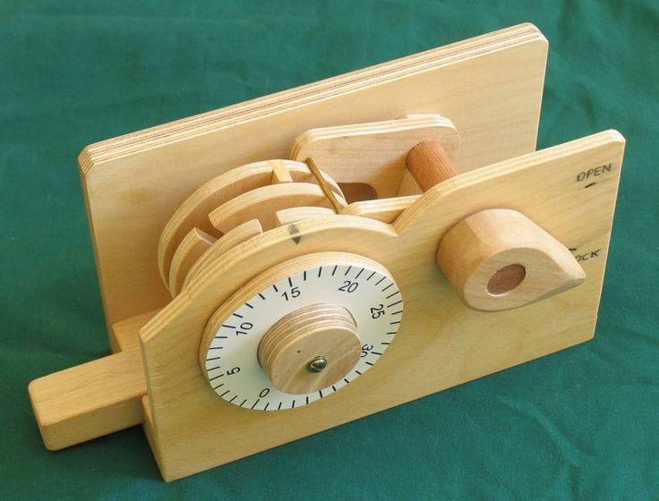 Handmade wooden combination lock.