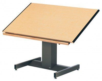 Futur Matic Drawing Table (30 in. L x 42 in. W) by Mayline Group. $2456.99. 30 in. L x 42 in. W. Tilt Angle: Horizontal to near vertical. Made from thermally fused birch woodgrain. Low pressure laminate with steel and cleat. Hardwood pencil trough. Low pressure laminate with steel and cleat. Hardwood pencil trough. Made from thermally fused birch woodgrain. Tilt Angle: Horizontal to near vertical. Top Height: 18 in. travel range, 30 - 48 in.. Overall: 30 in. L x 42 in. W (160 lbs.)