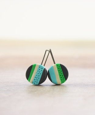 Colorful striped earrings, fun modern polymer clay jewelry in bright colors - pinned by pin4etsy.com
