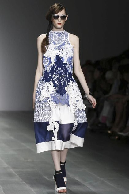 Bora Aksu Ready To Wear Spring Summer 2015 London - another example of the beautiful, subtle colour scheme that is a part of this collection. The overall piece is layered with soft fabric prints and structured materials to correspond with the theme.