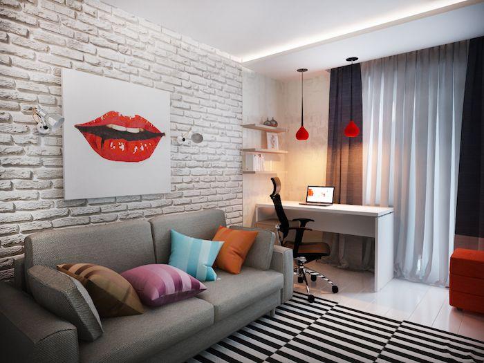 Jugendzimmer Einrichtungsideen Wanddeko Wandbild Weiß Mit Den Lippen Einer  Frau Rote Lippen Deko über Dem Sofa