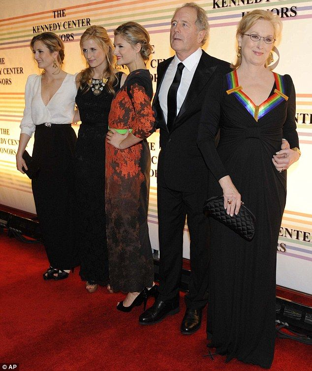 Family affair: Meryl Streep was joined by her three daughters and husband Don Gummer at the Performing Arts for the Kennedy Center Honours gala in Washington DC tonight