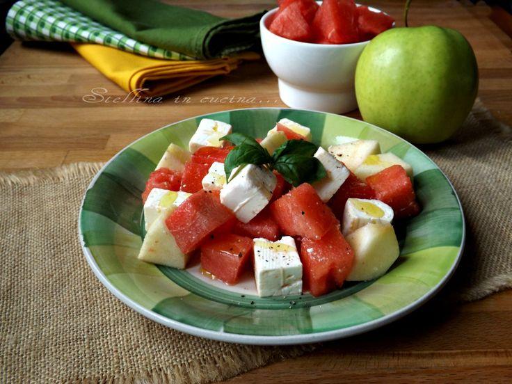 Insalata+di+anguria+e+feta+con+mela+verde