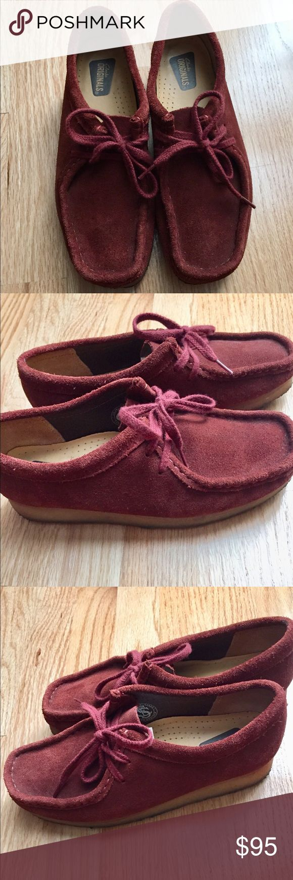 Burgundy Wallabee's In great condition burgundy Clark Walabees. Super comfortable with beeswax sole and suede leather top. Very lightly used, but the bottoms do collect dust. Otherwise in very good condition! Clarks Shoes