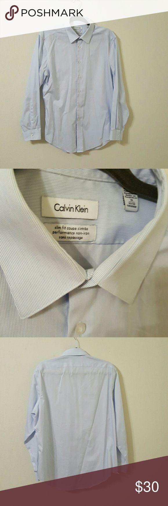 Men's Calvin Klein Dress Shirt 16 collar, 32/33 inseam. Slim fit, non iron dress shirt! Calvin Klein Shirts Dress Shirts