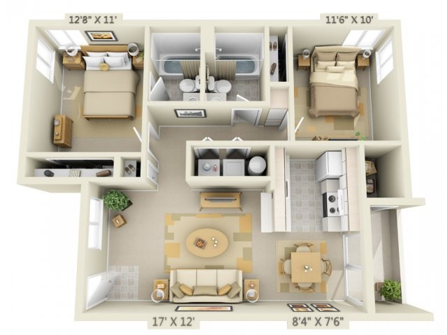 3d floor plan image 1 for the 2 bed 2 bath floor plan of property crown - Second Floor Floor Plans 2