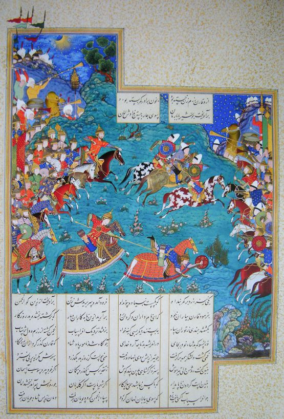 King Afrasiyab of Turan and his general Barman invaded Iran. Nowzar of Iran took refuge in Dahistan together with his army commander, Qaran, whose brother had been killed by Barman. Qaran and other paladins (champions) launched a night attack behind Turanian lines and encountered Afrasiyab's force led by Barman at the White Castle. Here, we see the armies ready to engage. The Iranians are on the left, identified by the Safavid taj, the red caps that project from the turbans of their…