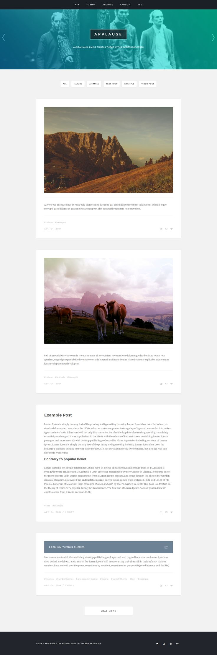 Random colors website - Applause Is A Clean And Simple Tumblr Theme With A Slideshow Cover All Colors