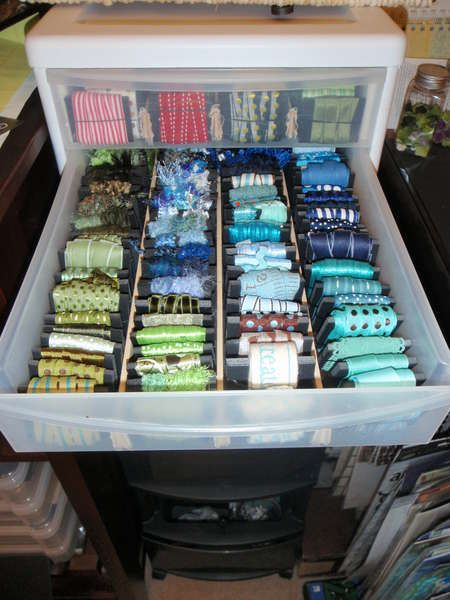 Good method for storing ribbon. I have a similar storage method I will have to post pictures of.