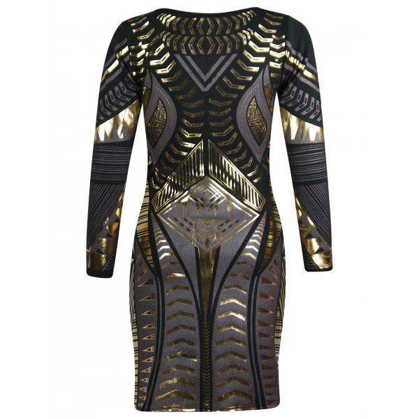 aztec gold print dress