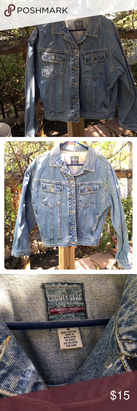 """Faded Jean Jacket Cute ladies or mid teen jacket. It has all buttons and no stains rips or tears. Measures 22"""" from shoulder to bottom and 21"""" from shoulder to shoulder. Side pockets and two breast pockets. Jacket is not lined. County Seat Jackets & Coats Jean Jackets"""