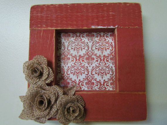 Distressed Red Wood Frame With Burlap flowers by creativelychristel on etsy