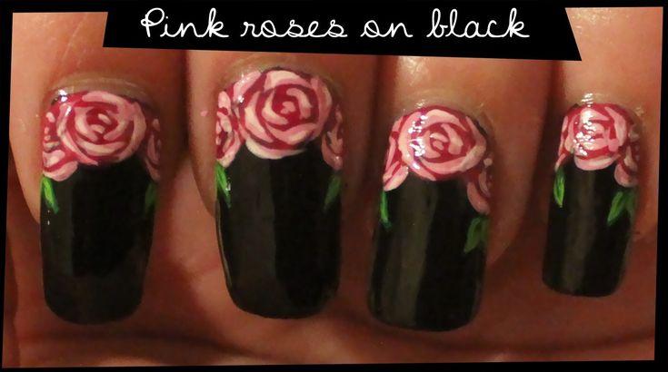 Pink Roses on Black nail art