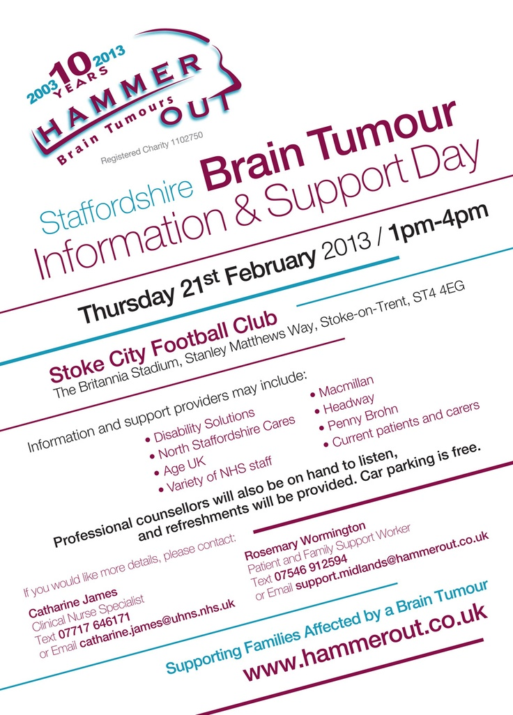 Staffordshire Brain Tumour Information & Support Day  -  Thursday 21st February 2013  -  Discover the range of help that is available for families affected by a brain tumour diagnosis.