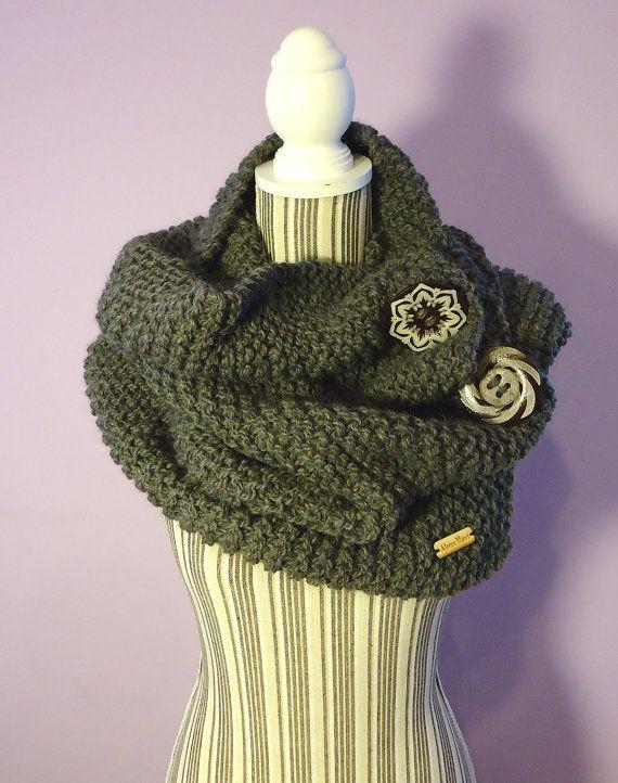 maxi SCIARPA lana anello maglia grigio scuro / di AloneMavi