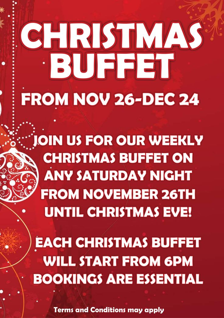 Starting this weekend, we have our Christmas Buffet nights which run right up until Christmas Eve, so book in and come see the tasty options we have on offer.