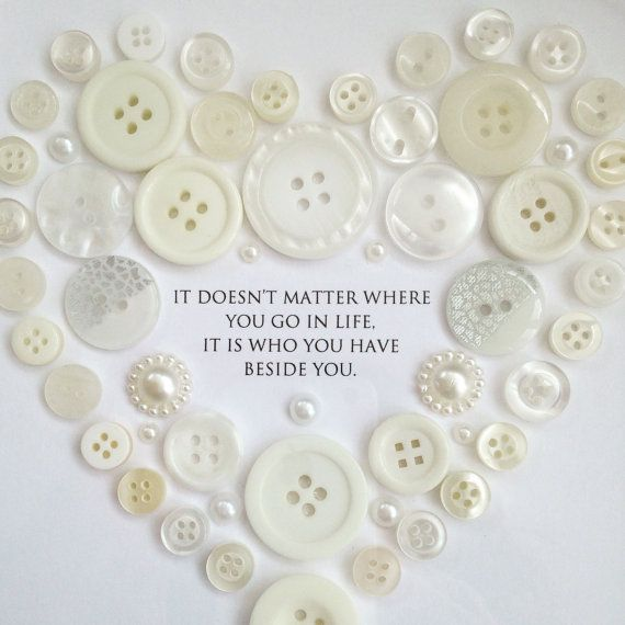 Unique Wedding Gift Framed Button Heart Picture by Madebylotties