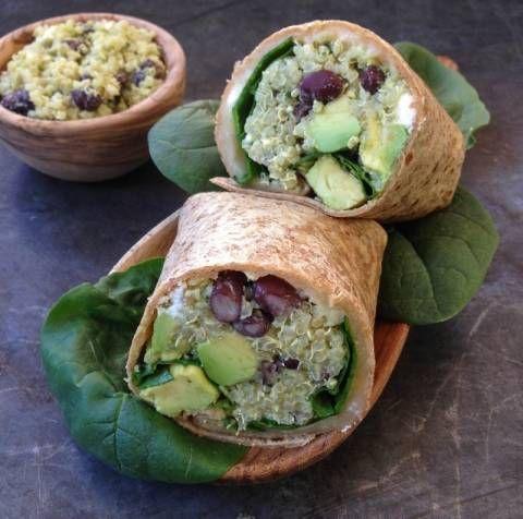 Quinoa, Black Beans, Feta, and Avocado Wrap - dressing recipe included.