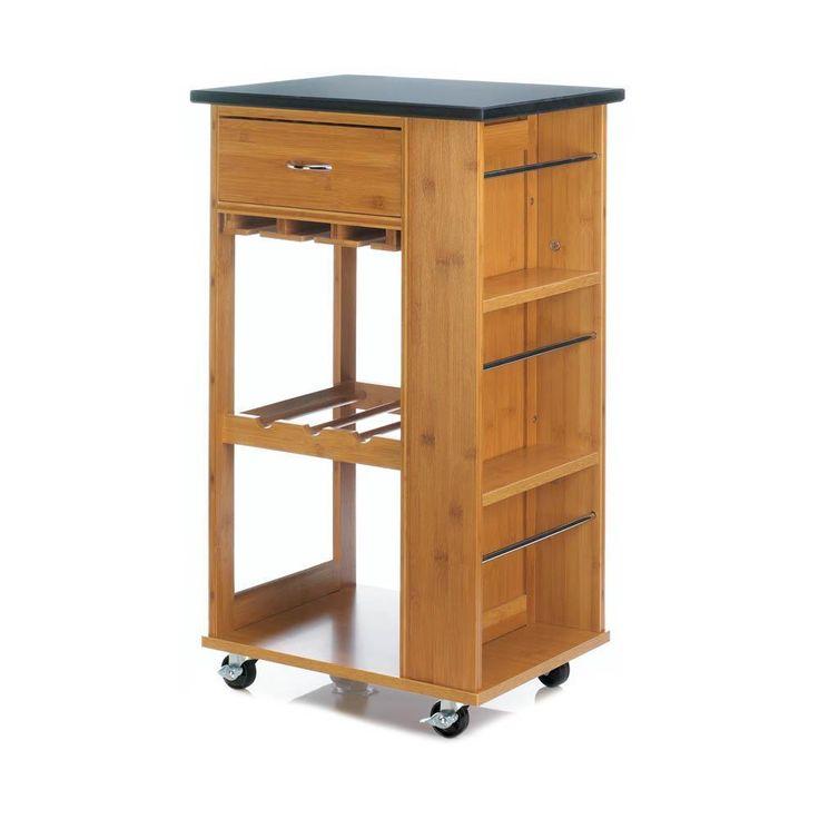 Bamboo & Marble Kitchen Cart