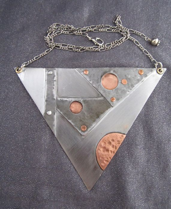 Large Industrial Mixed Metals Modernist by FirednWiredJewelry