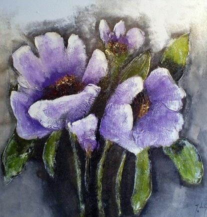 jg954 - paars schilderij bloemen j de graaf 120x120
