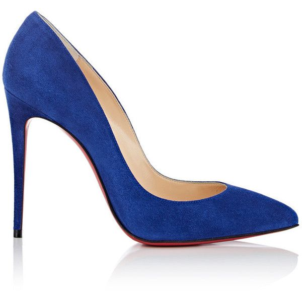 Christian Louboutin Women's Pigalle Follies Suede Pumps ($675) ❤ liked on Polyvore featuring shoes, pumps, blue, blue suede shoes, pointy toe pumps, suede pointed toe pumps, slip-on shoes and blue pumps