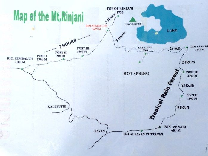 Map and elevations of Mount Rinjani multi day trekking.