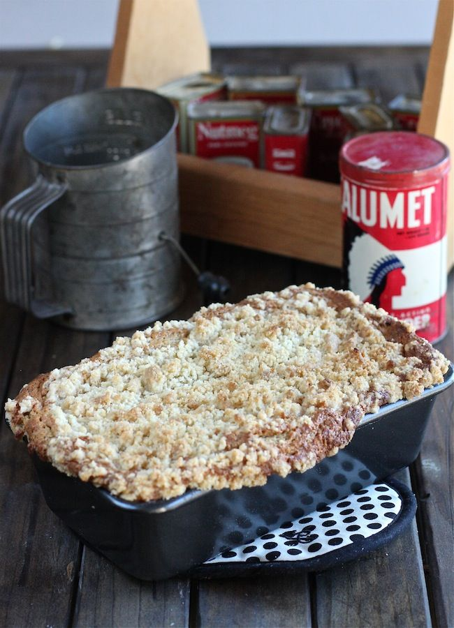 My Rum Banana Bread with Sour Cream is fluffy and delicious and is topped with a streusel topping, a fun twist on your favorite banana bread.