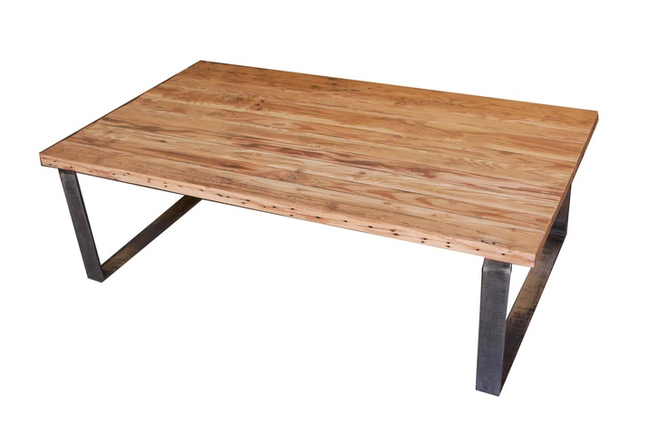 Portland Rectangular Coffee Table In Reclaimed Wood And Rustic Metal Legs Via Etsy