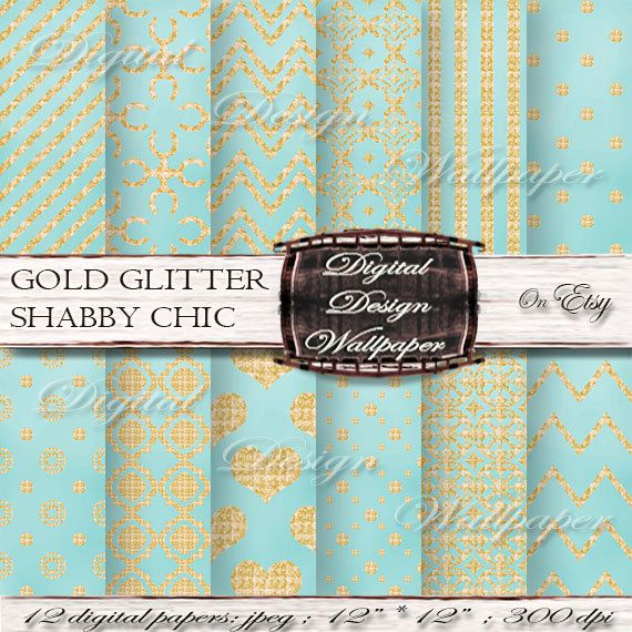 Gold and Teal Shabby Chic Glitter Digital Paper for digital scrapbook lovers,Glitter Dots,Glitter Chevron,Gold Glitter Hearts, Quatrefoil Paper,Sparkle Paper by DigitalDesignPaper. Explore more products on: www.etsy.com/...