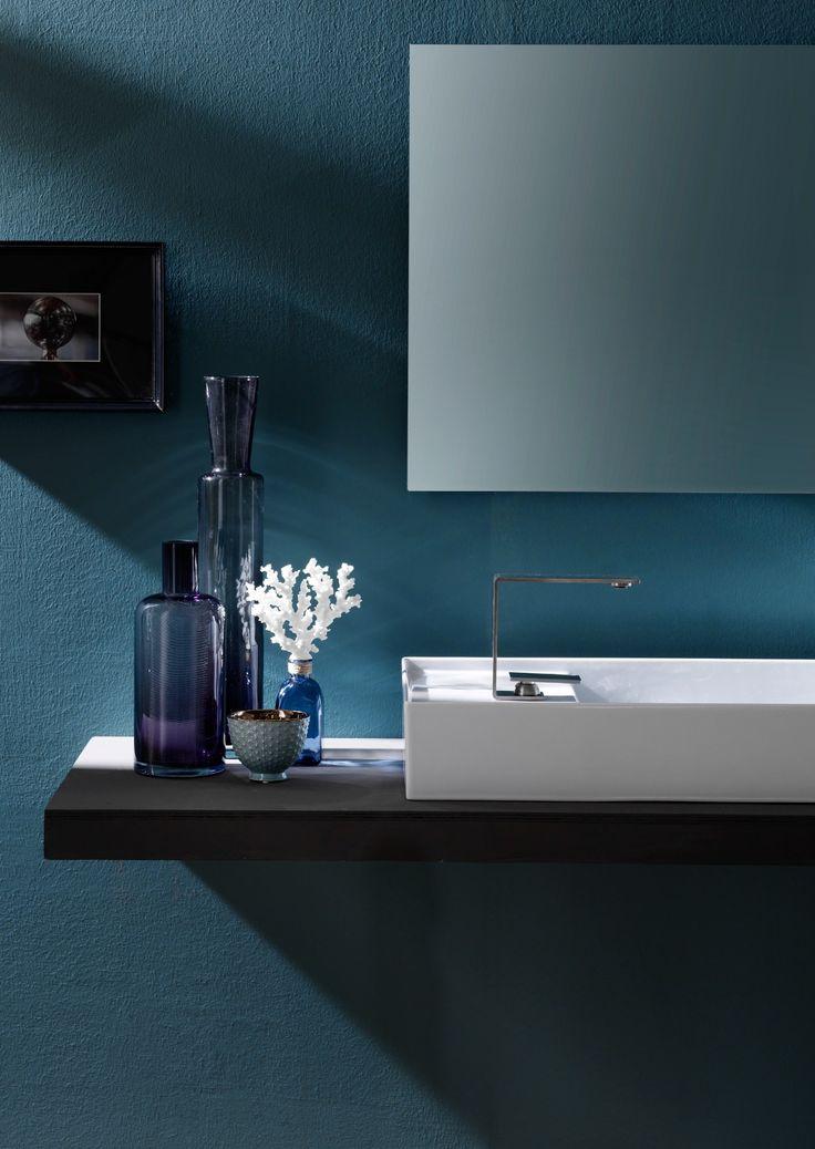 Countertop rectangular ceramic washbasin ICON 85x37 by Alice Ceramica