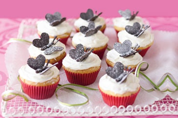 These little chocolate butterflies are the crowning glory of these delicious little cupcakes.