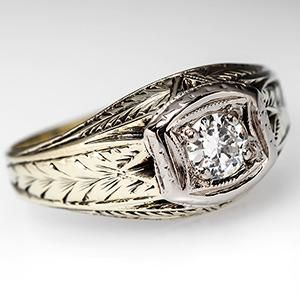 Men S European Rings Home Vintage Mens Wedding Band Ring W Old Diamond 14k Gold Jewelry Pinterest And Bands
