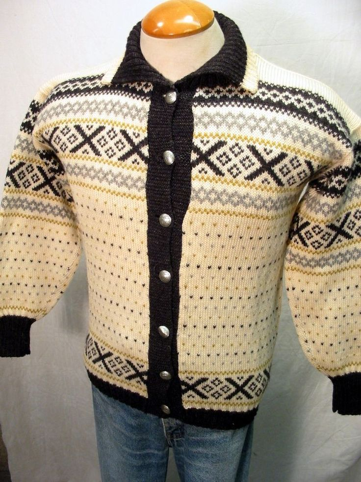 Stunning FIGGJO Norwegian Wool Ski Nordic Sweater Pewter Clasps Sz S #FIGGJO #Cardigan