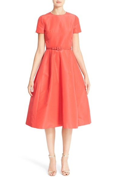 Free shipping and returns on Carolina Herrera Belted Silk Faille A-Line Dress at Nordstrom.com. Pre-order this style from the Pre-Spring/Resort 2017 collection! Limited quantities. Ships as soon as available. You'll be charged only when your item ships.Glowing coral color is the scene-stealer for this demure silk-faille dress that channels retro charm with a fitted cap-sleeve bodice and flared below-knee skirt. A slender self-fabric belt completes the ladylike polish.