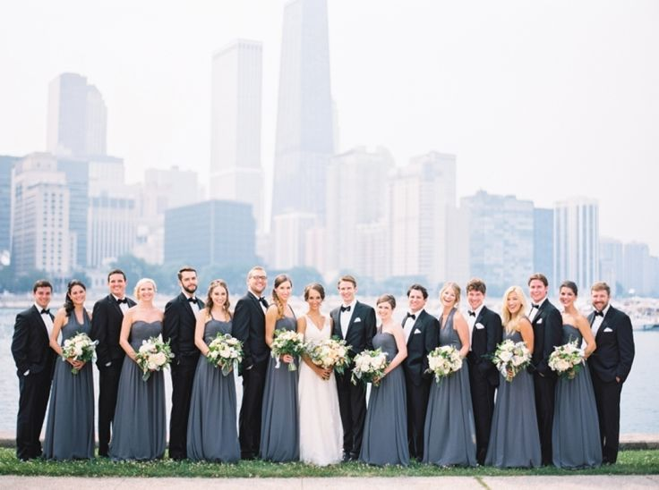 mix and match bridesmaids dresses | long blue-grey bridesmaid gowns paired with groomsmen in black