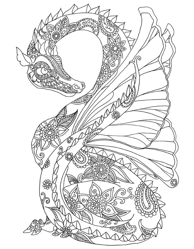 973 best images about coloring pages on pinterest dovers - Mandala dragon ...
