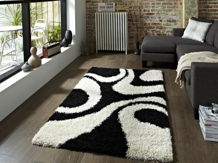 black and white area rug. shaggy black and white area rug e