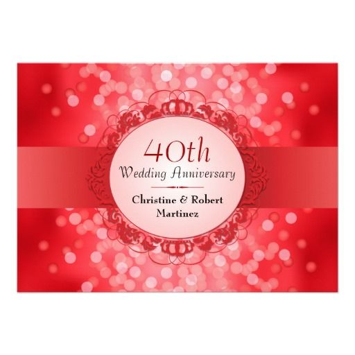 Ruby Red Bokeh 40th Anniversary Party Card