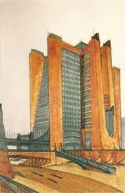 """futurismo: edificaciones de gran altura, algunos definían como """"mundo vertical"""""""