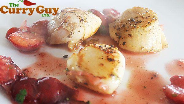 Sea Scallops With Fresh Cherries And Tarragon Recipe — Dishmaps