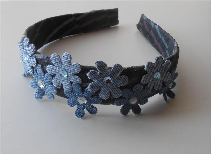Blue Denim Headband Flower Headbands Wide Headbands Blue Headpiece Blue Flowers Headband Rustic Headpieces Handmade Hair Accessories Gifts by NeedleCraftNook on Etsy