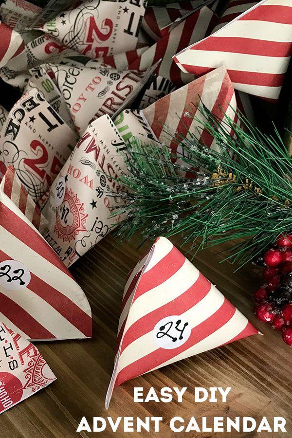 Easy DIY Advent Calendar from Scrapbook Paper Pockets Christmas