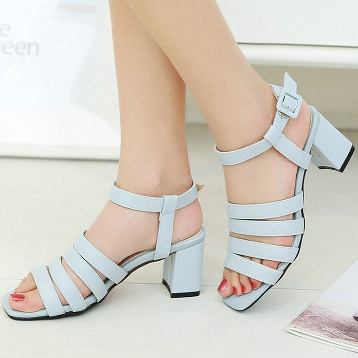 Women's PU Patent Leather Mid Heels Open Toe Summer Shoes Buckle Up Sandals(ZBB1051PA36nude)