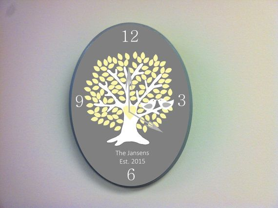 Wooden Tree clock wedding tree clock personalized by TheWoodenOwl